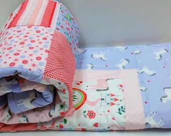 Unicorn Quilt-Baby Girl Nursery-Lavender-Purple-Pink-Princess Crib Bedding-Homemade Baby Blanket-Soft Patchwork Quilt-Cot Blanket-Rainbow