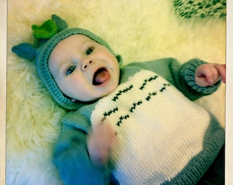 Totoro baby hoodie & mittens - Knitting pattern for a Totoro baby hooded jumper and mittens.
