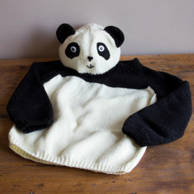 Children's Panda hat and sweater knitting pattern image 0