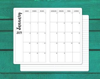 B6 Slim 2019 Monthly Calendar Tn Insert Traveler S Etsy