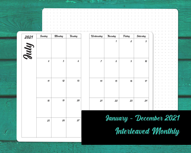 Interleaved 2021 monatlich Kalender TN einfügen Reises   Etsy