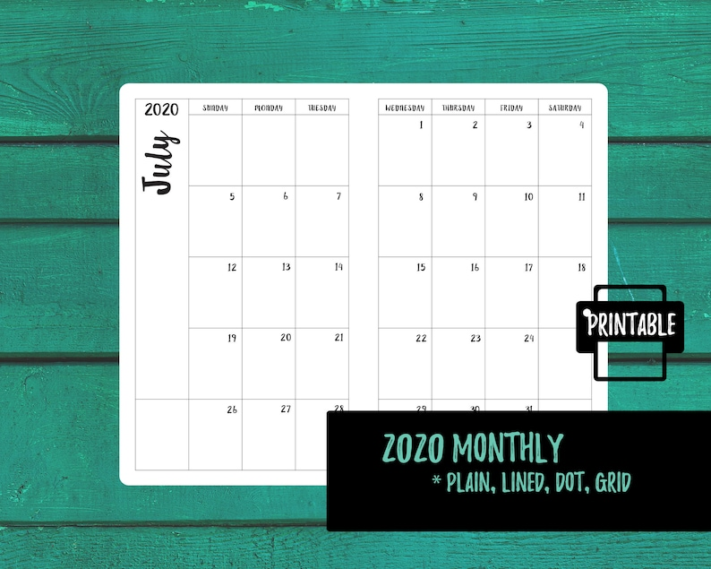 Calendar Notebook 2020 A6 2020 Monthly Calendar TN Insert Traveler's Notebook | Etsy