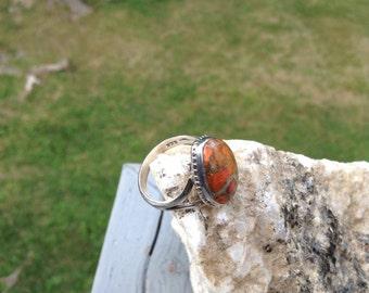 Orange Jasper Sterling Ring