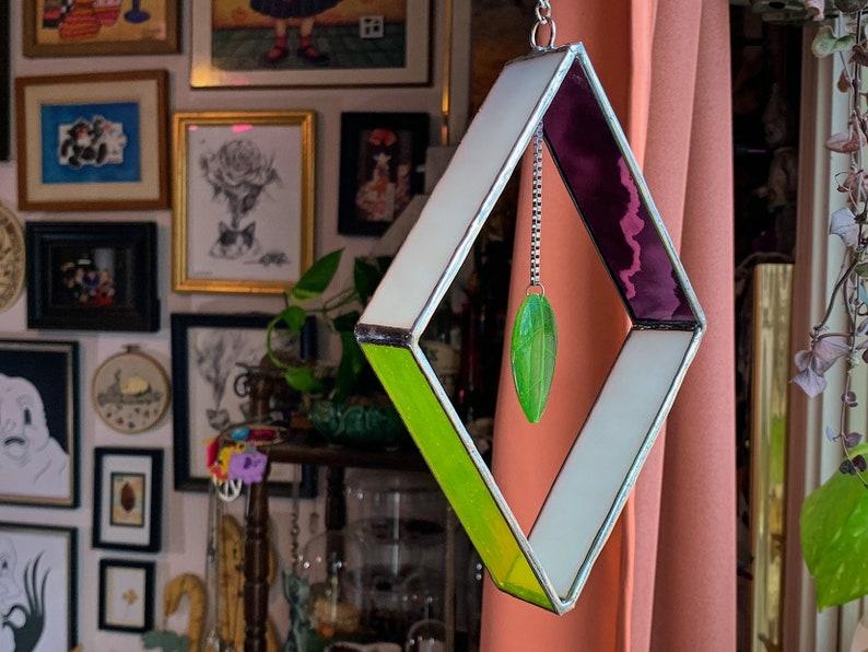 leaf suncatcher glass art Geometric