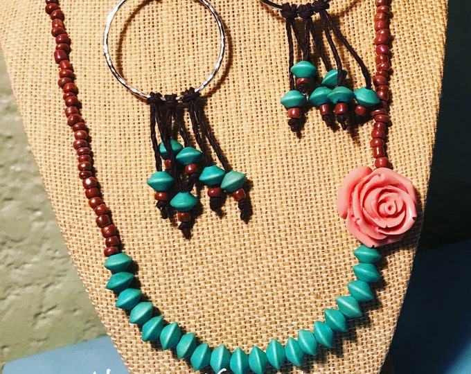 Turquoise Necklace with Rose Accent