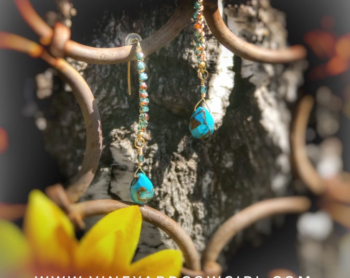 Copper Turquoise Drip Earrings