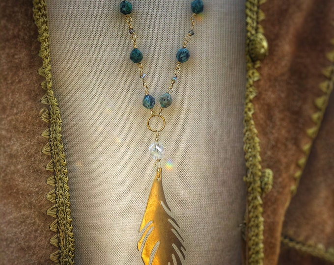 Feather Turquoise Long Necklace