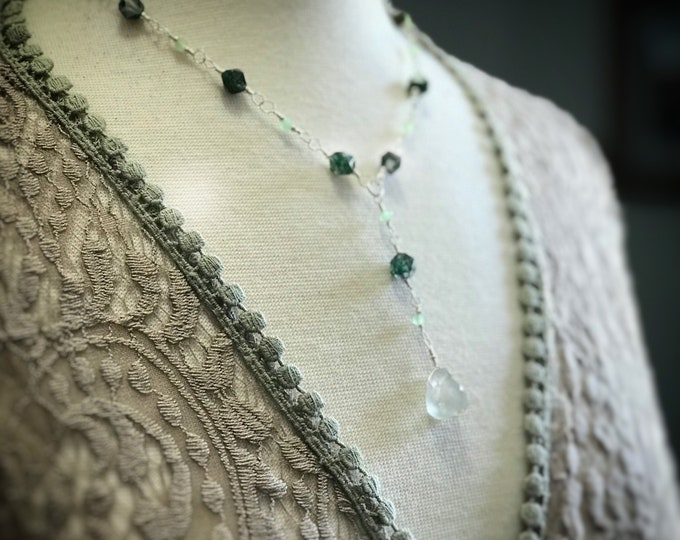 Green Agate Necklace with Seafoam Green Quartz Pendant