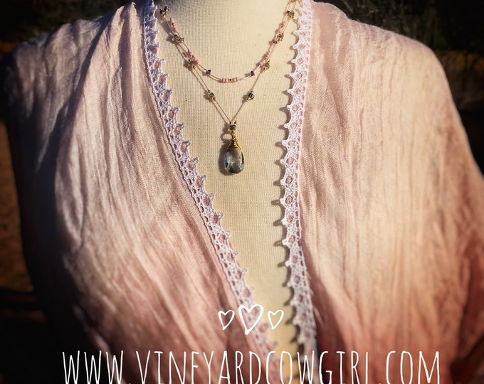 pink, gold, lilac Multistrand Necklace