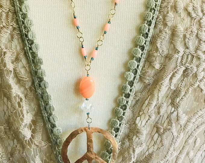 Hammered Brass Peace Sign Necklace