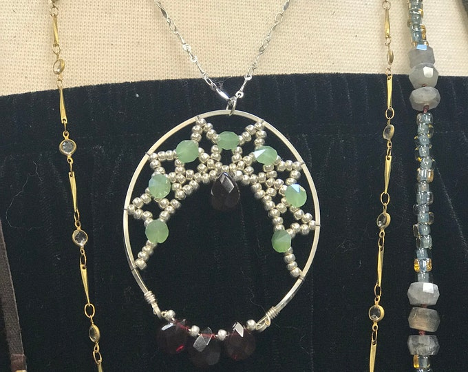Half lunar dream catcher necklace