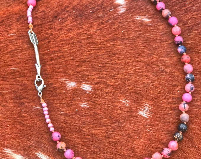Pink gemstone beaded single knotted necklace