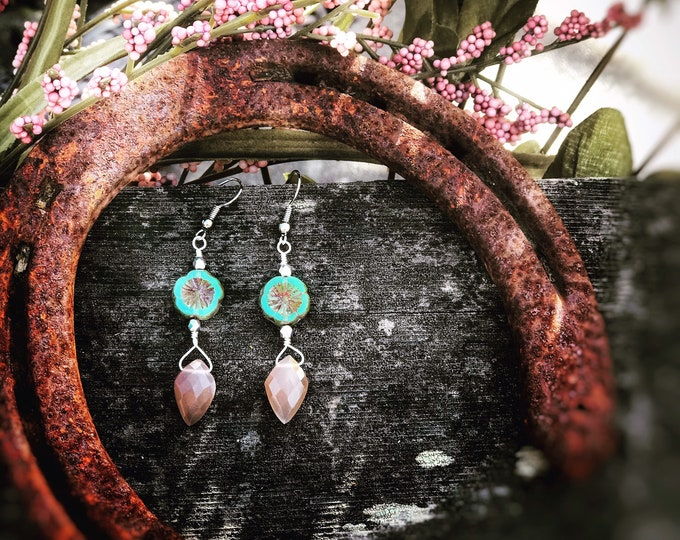 Moonstone & Flowers Earrings