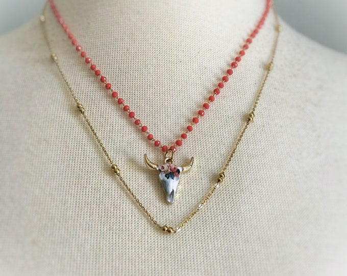 Double Strand Coral Skull Necklace