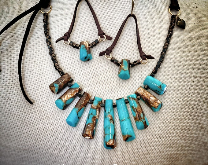 Turquoise and Bronzite Wrap Necklace
