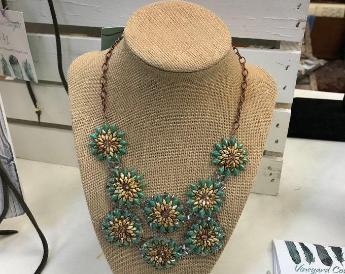 Beaded Sunflower Bib Necklace