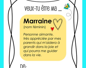 Godmother request, godfather request, birth, special request, Gift magnet, , made in Quebec, Canada, Mabie Ecodesign