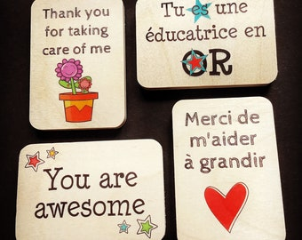 4 Personalized magnets, personalized gifts, made in Quebec, made in Canada, Mabie Ecodesign
