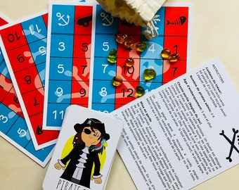 Bingo Pirates educational game for children made in Quebec, made in Canada, card game with piracy image, gift