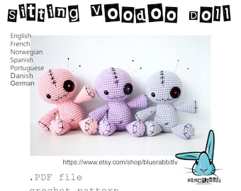 Amigurumi Sitting Voodoo Doll crochet pattern. Languages: English, Danish, French, German, Norwegian, Spanish, Portuguese.