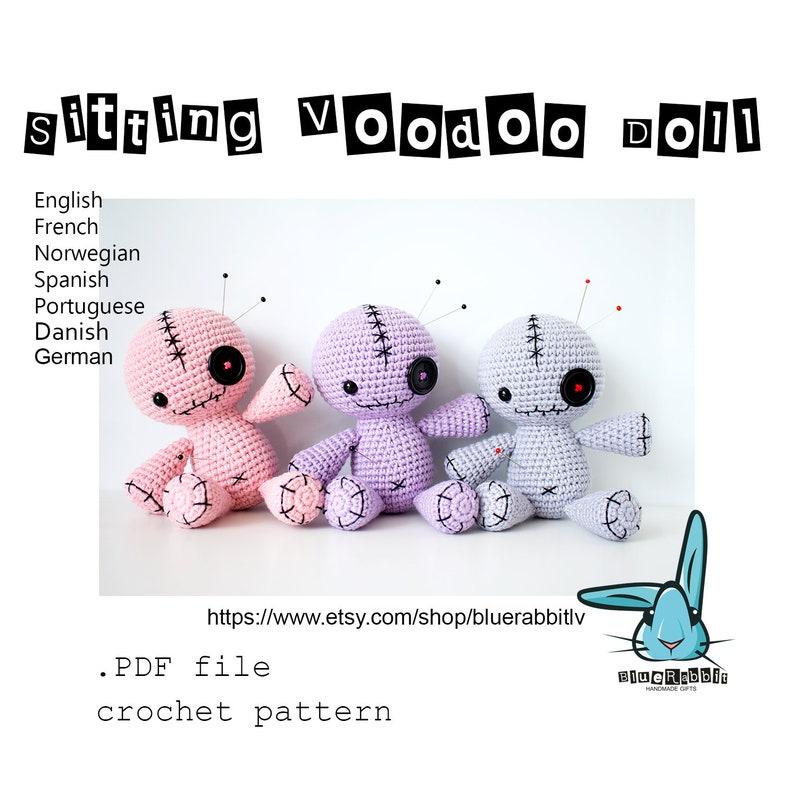 Amigurumi Sitting Voodoo Doll crochet pattern. Languages: image 0