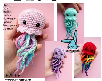 Kawaii Jellyfish - amigurumi crochet  pattern. PDF file. Languages - English, German, French, Norwegian, Danish, Dutch, Spanish, Portuguese