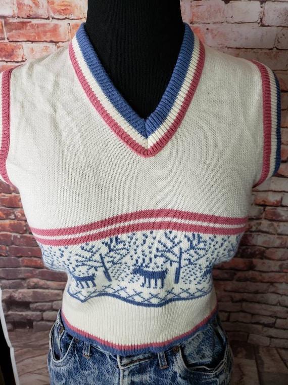 1970s Reindeer Sweater Vest Christmas Vest / Ugly… - image 10