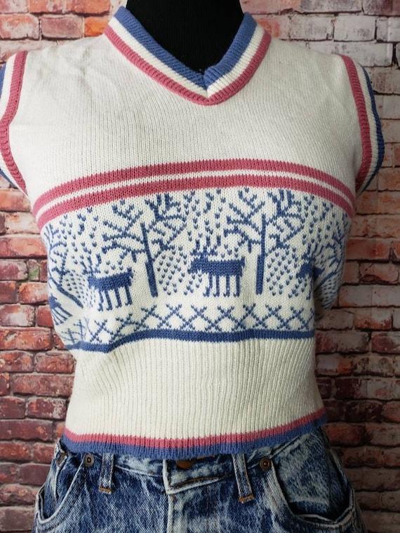 1970s Reindeer Sweater Vest Christmas Vest / Ugly… - image 9