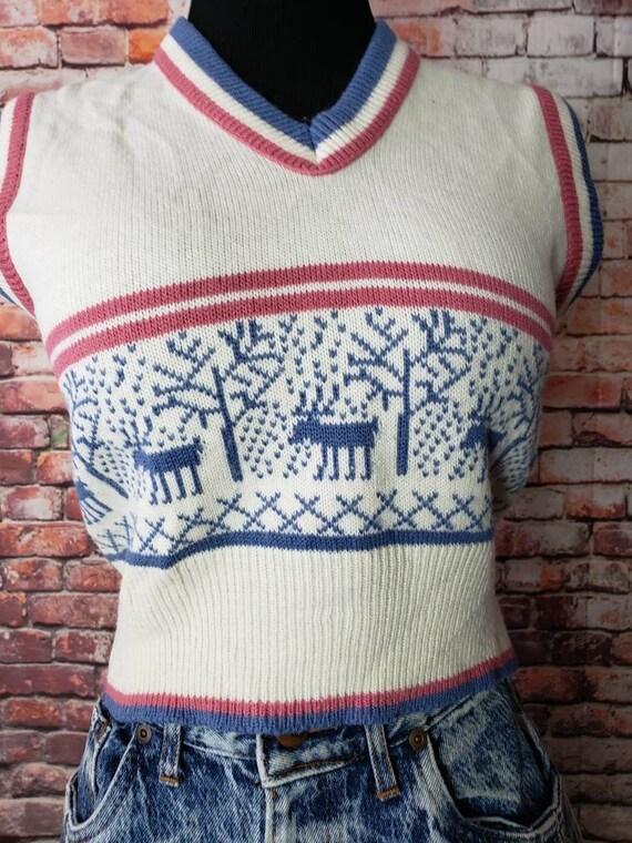 1970s Reindeer Sweater Vest Christmas Vest / Ugly… - image 6