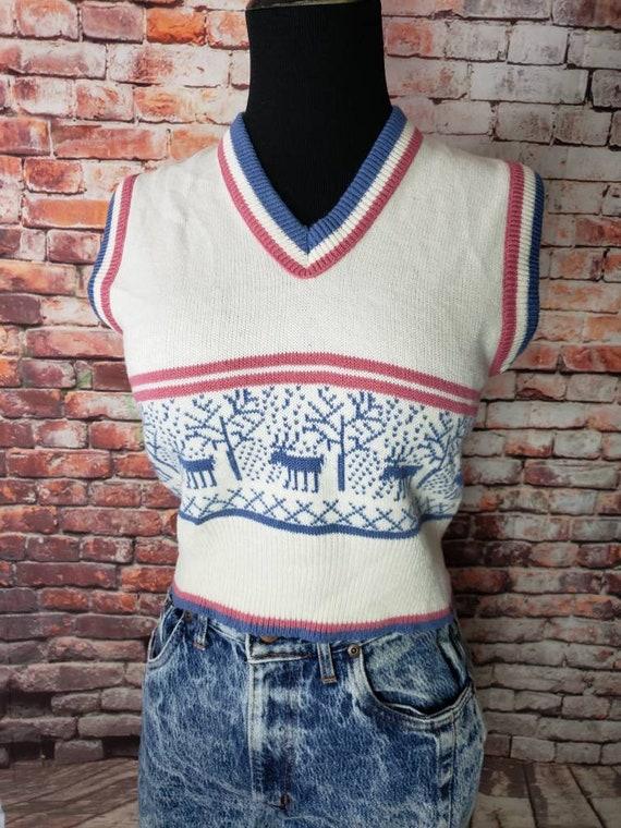 1970s Reindeer Sweater Vest Christmas Vest / Ugly… - image 8