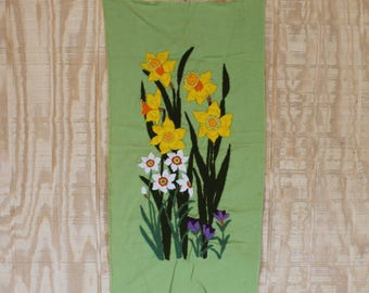 Vintage 1970's Cotton Paragon Needlecraft Floral Daffodil Lily Hyacinth Crewel Embroidery Tapestry Wall Hanging
