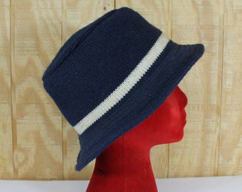 1f67204d767a8 Vintage 1970 s REMINGTON Blue Wool Knit Fishing Hunting Bucket Hat