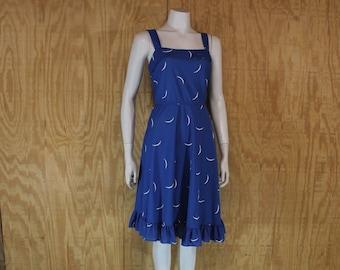 01ee42d6035 Vintage 1970 s MISS CHALLENGE Blue Crescent Moon Print Ruffle Sundress Sun  Dress Small Medium S   M