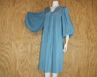 359f5d707a5 Vintage 1970 s GREECE Sky Blue Cotton Gauze Metallic Balloon Sleeve Macrame  Hippie Tent Dress Small Medium S   M