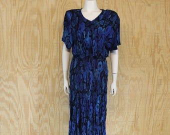 Vintage 1980's LA D DA Crinkle Rayon Blue Roses Cropped Top Tea Length Hippie Sundress Sun Dress Medium M
