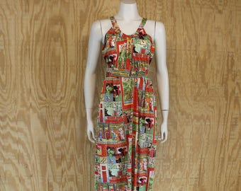 Vintage 1970's JULI JR Nylon India Print Hippie Maxi Dress Negligee Small Medium S / M
