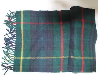c51fc88bcba Vintage 1990 s BLARNEY Woolen Mills Blue   Green Tartan Plaid Lambswool  Wool Winter Muffler Scarf NOS