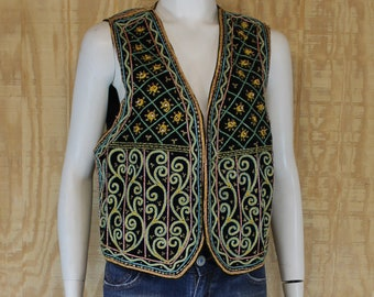 Vintage 1960's 70's India Cotton Velvet Soutache Embroidered Hippie Gypsy Waist Coat Vest One Size Medium Large M / L