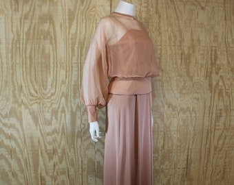 Vintage 1970's CELYCE DESIGNS Rose Gold Sheer Chiffon Top Formal Floor Length Gown Maxi Dress S