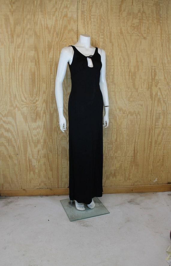 Vintage 1970's PANTHER Black Jersey Knit Key Hole