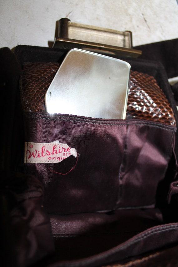 Vintage 1940's WILSHIRE Brown Wool Snakeskin Luci… - image 6
