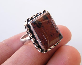 Brown Mahagony Jasper Sterling Silver Overlay Ring Size 8 US Handmade Jewelry Ancient