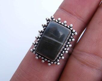 Handmade Style ! Silver Plated Red Jasper Gemstone Bezel Set Finger Statement Ring