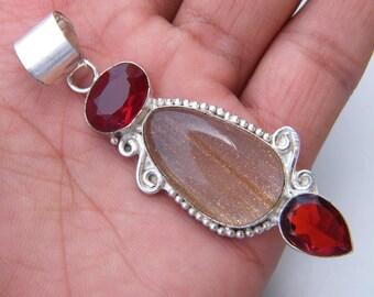 Handmade Red Jasper Red Quartz Gemstone Silver Plated Necklace