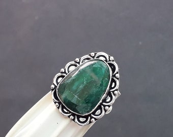9.25 USA Handmade Ring Gift For Her Green Quartz Ring Size Statement Ring Silver Plated Handmade Ring Designer Ring Gemstone Ring