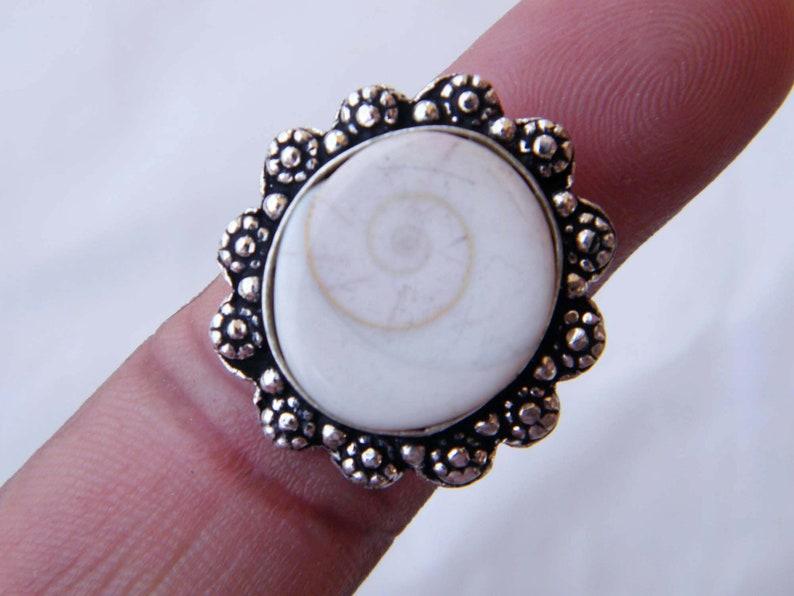 Beautiful Designer Ring Bohemian Style White Shell Ring 9 USA Shiva Eye Ring Silver Overlay Handmade Ring Statement Ring Size