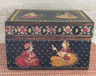 Antique Hand-Painted Wood Box   INDIA