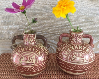 """PAIR of Early Persian Lustreware Pomegranate-Shaped Bud Vases """"As Found"""""""
