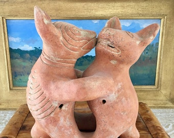 Large Redware Colima Dog Pottery Sculpture   West Mexico