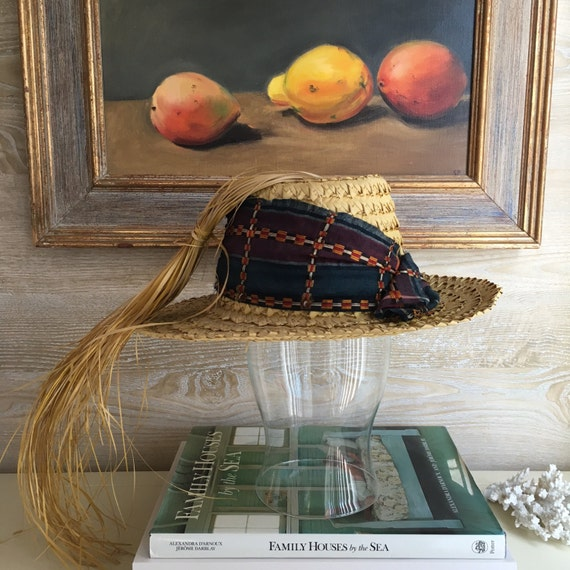 Vintage Straw Hat with African Fabric + Straw Stra